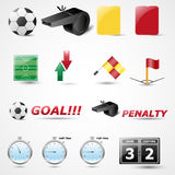 Satz der 14 Fußball-Vektor-Ikone Lizenzfreies Stockbild