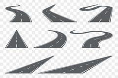 Satz der gebogenen Asphaltstraße in der Perspektive Landstraßenikonen Stockfoto