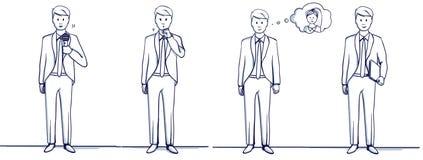 Satz der Geschäftsmann-Karikaturillustration Steht Szenen Stockbilder