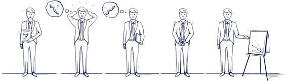 Satz der Geschäftsmann-Karikaturillustration Steht Szenen Stockbild