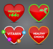 Satz der gesunden Nahrungsmittelikone auf Herzform. Stockfotos
