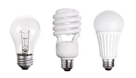 Satz der Glühlampe LED CFL Leuchtstoff auf Weiß Stockfoto
