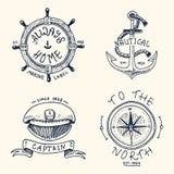 Satz der gravierten Weinlese, die Hand gezeichnet, alt, die Aufkleber oder die Ausweise für Anker, Lenkrad, captains Kappe, Kompa lizenzfreie abbildung