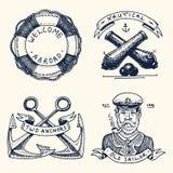Satz der gravierten Weinlese, Hand gezeichnet, alt, Aufkleber oder Ausweise für einen Rettungsring, eine Kanonenkugel, ein Kapitä stock abbildung
