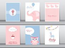 Satz der Gruß- und Einladungskarte, Geburtstag, Feiertag, Weihnachten, Tier, Katze, Elefant, Hund, Bär, Karikatur, Illustration Stockbilder