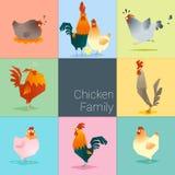 Satz der Hühnerfamilie Stockfoto