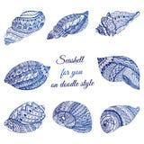 Satz der Hand gezeichneten Muschel mit ethnischem Motiv Abstraktes zentangle stilisierte Cockleshells Ozeanleben-Gekritzelsammlun Stockbild