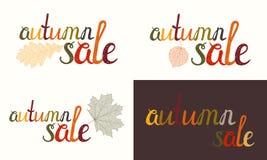 Satz der Herbstverkaufsaufschrift Lizenzfreie Stockbilder