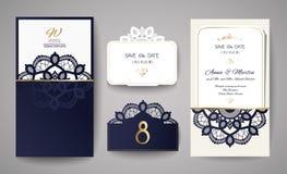 Satz der Hochzeits-Einladungs-Weinlese Schablone für Laser-Ausschnitt Auch im corel abgehobenen Betrag Lizenzfreies Stockfoto