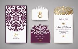 Satz der Hochzeits-Einladungs-Weinlese Schablone für Laser-Ausschnitt Auch im corel abgehobenen Betrag Lizenzfreie Stockbilder