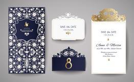 Satz der Hochzeits-Einladungs-Weinlese Schablone für Laser-Ausschnitt Auch im corel abgehobenen Betrag Stockbild