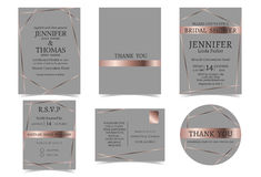 Satz der Hochzeits-Einladungskarte für Paare Rose Gold und Gray Tone Stockfotos