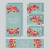 Satz der Hochzeitseinladungskarte Stockbilder