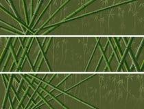 Satz der horizontalen Fahne mit vielen Bambussen Stockbilder