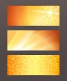 Satz der horizontalen Fahnentitel-Websitesonne Stockbilder