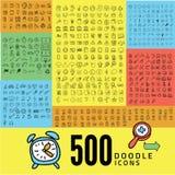 Satz der Ikone mit 500 Gekritzeln Lizenzfreie Stockfotos