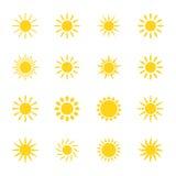 Satz der Ikonensonne, Illustration Lizenzfreies Stockbild