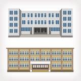 Satz der Illustration mit zwei Vektoren der Gebäude Stockfotos
