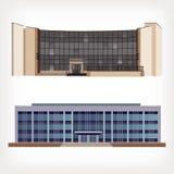 Satz der Illustration mit zwei Vektoren der modernen Gebäude Stockfoto