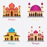 Satz der islamischen Moschee/des Masjid für Moslems beten Ikone lizenzfreie stockbilder