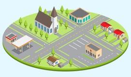 Satz der isometrischen Stadtgebäude stockbild