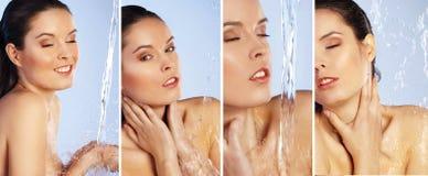 Satz der jungen Frau genießen Dusche Stockbild