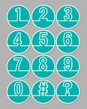 Satz der künstlerischen Zeilennummer im Kreis formt, weißer Entwurf auf modischem grünem Hintergrund Lizenzfreies Stockfoto
