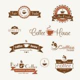 Satz der Kaffeeweinlese wird und Aufkleber deutlich Stockbild