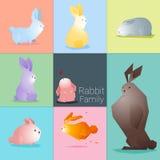 Satz der Kaninchenfamilie Stockfoto