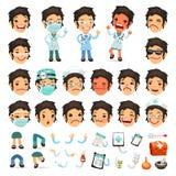 Satz der Karikatur-Ärztin Character für Ihr Stockbild
