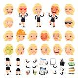 Satz der Karikatur-Geschäftsfrau Character für Ihr Stockfoto