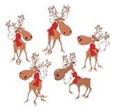 Satz der Karikatur-Illustration Weihnachtsrotwild-Zeichentrickfilm-Figur für Sie Design Lizenzfreies Stockbild