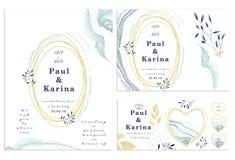 Satz der Karte mit Blume, Blätter Hochzeitsverzierungskonzept Blumenplakat, laden ein dekorative Grußkarte oder Einladungsdesignb stock abbildung