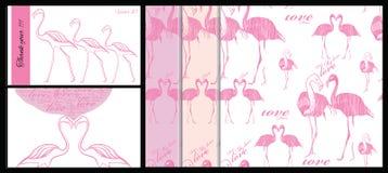 Satz der Karte und nahtloses Muster mit Rosa Lizenzfreies Stockfoto
