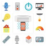 Satz der Klimaanlage, Thermostat, Haus, Sprachsteuerung, Direktübertragung, stock abbildung