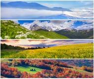 Satz der Landschaft mit 4 Jahreszeiten Stockfotografie