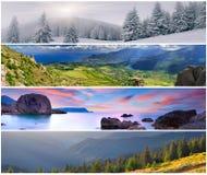 Satz der Landschaft mit 4 Jahreszeiten Lizenzfreies Stockfoto
