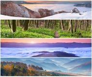 Satz der Landschaft mit 4 Jahreszeiten Stockfotos