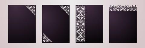 Satz der Laser geschnittenen dekorativen Vektorschablone Luxusgruß, sa Stockfoto