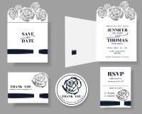 Satz der Laser-Schnitt Hochzeits-Einladungs-Karte Rose Concept Stockfotos