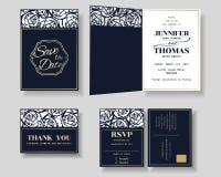 Satz der Laser-Schnitt Hochzeits-Einladungs-Karte Rosen-Form Stockbilder