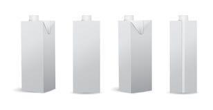 Satz der leeren Milch/des Juice Carton Vector Illustrations Mockups Lizenzfreies Stockbild