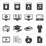 Satz der on-line-Bildungsikone Stockfotos