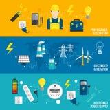 Satz der Linie Fahnenenergiegewinnung Lizenzfreie Stockfotos