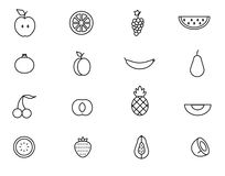 Satz der Linie Fruchtikone Vektorillustration Stockfoto