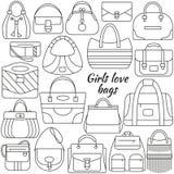Satz der Linie Ikone Unterschiedliche Frauentaschen und -platz für Ihren Text Konturnikonen Informationsgraphikelemente Einfache  Lizenzfreie Stockfotografie