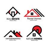 Satz der Linie Ikonen der Gebäude vector Logos Lizenzfreie Stockbilder