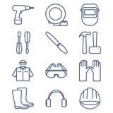 Satz der Linie Ikonen für DIY, Werkzeuge und Arbeitskleidung Lizenzfreies Stockfoto