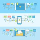 Satz der Linie Konzeptfahnen für Downloaddienstleistungen Lizenzfreie Stockbilder