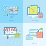 Satz der Linie Konzeptikonen für das on-line-Einkaufen Lizenzfreie Stockfotos